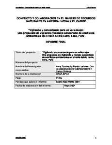 CONFLICTO Y COLABORACION EN EL MANEJO DE RECURSOS NATURALES EN AMERICA LATINA Y EL CARIBE