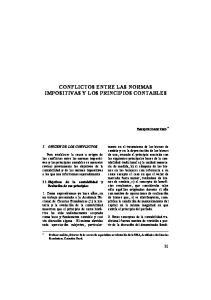 CONFLICTOS ENTRE LAS NORMAS IMPOSITIVAS Y LOS PRINCIPIOS CONTABLES