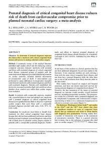 congenital heart disease; fetal echocardiography; mortality; outcome; prenatal diagnosis Copyright 2015 ISUOG. Published by John Wiley & Sons Ltd
