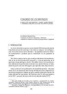 CONGRESO DE LOS DIPUTADOS Y REALES DECRETOS-LEYES ANTICRISIS