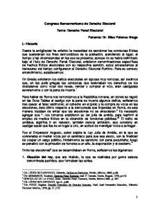 Congreso Iberoamericano de Derecho Electoral. Tema: Derecho Penal Electoral