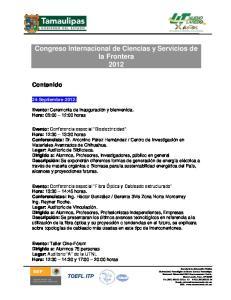 Congreso Internacional de Ciencias y Servicios de la Frontera 2012