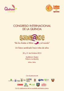 CONGRESO INTERNACIONAL DE LA QUINOA