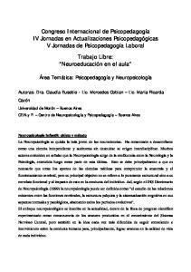 Congreso Internacional de Psicopedagogía IV Jornadas en Actualizaciones Psicopedagógicas V Jornadas de Psicopedagogía Laboral
