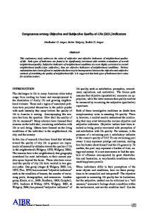 Congruence among Objective and Subjective Quality-of-Life (QOL) Indicators