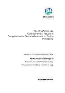 Conhecimentos, Atitudes e Comportamentos Sexuais de Alunos do Ensino Profissional