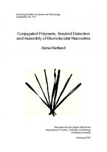 Conjugated Polymers, Amyloid Detection and Assembly of Biomolecular Nanowires. Anna Herland