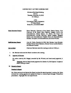 CONNECTICUT LOTTERY CORPORATION. Minutes of the Board Meeting held on Thursday, November 19, 2015 At 12:00 p.m