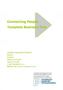 Connecting People Template Business Plan