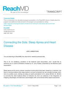 Connecting the Dots: Sleep Apnea and Heart Disease