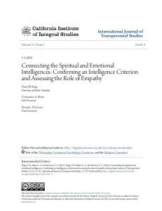 Connecting the Spiritual and Emotional Intelligences: Confirming an Intelligence Criterion and Assessing the Role of Empathy
