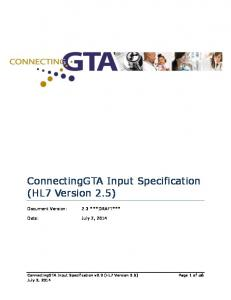 ConnectingGTA Input Specification (HL7 Version 2.5) Date: July 2, 2014
