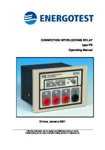 CONNECTION INTERLOCKING RELAY type PB Operating Manual