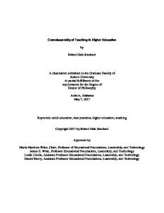 Connoisseurship of Teaching in Higher Education. Robert Dale Southard