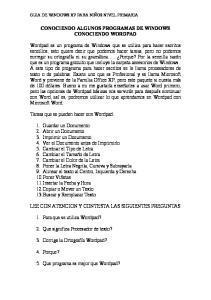 CONOCIENDO ALGUNOS PROGRAMAS DE WINDOWS CONOCIENDO WORDPAD