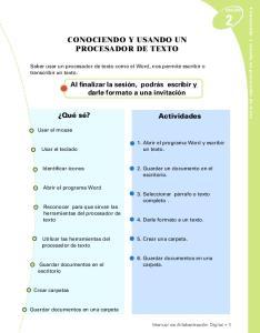 CONOCIENDO Y USANDO UN PROCESADOR DE TEXTO