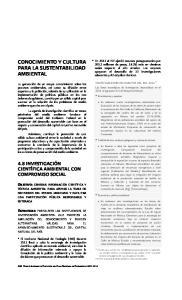 CONOCIMIENTO Y CULTURA PARA LA SUSTENTABILIDAD AMBIENTAL