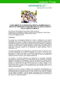 CONOCIMIENTOS DE NUTRICIÓN, HÁBITOS ALIMENTARIOS Y RIESGO DE ANOREXIA EN UNA MUESTRA DE ADOLESCENTES EN LA CUIDAD DE MÉXICO