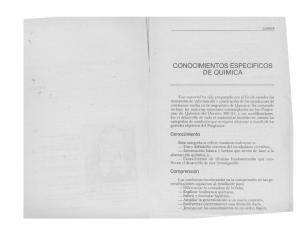 CONQCIMIENTOS ESPECIFICaS DE QUIMICA