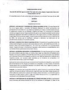 CONSEJO NACIONAL DE PAZ. Acuerdo 001 del 05 de Agosto de 2015
