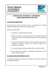 CONSEJOS DEL TINTORERO AL CONSUMIDOR...sobre mantenimiento de piel y ante