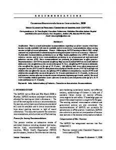 Consensus Recommendations on Immunization, 2008