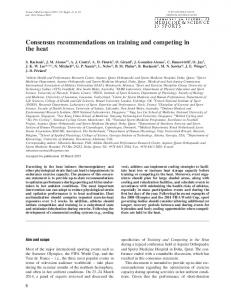 Consensus recommendations on training and competing in the heat