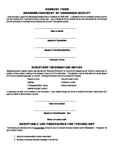 CONSENT FORM ACKNOWLEDGEMENT OF HANDBOOK RECEIPT