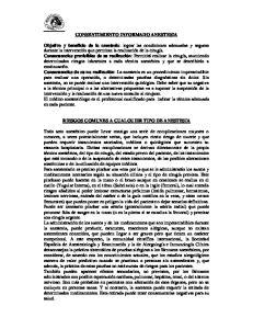 CONSENTIMIENTO INFORMADO ANESTESIA RIESGOS COMUNES A CUALQUIER TIPO DE ANESTESIA