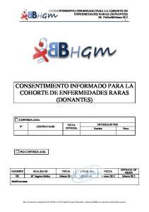 CONSENTIMIENTO INFORMADO PARA LA COHORTE DE ENFERMEDADES RARAS (DONANTES)