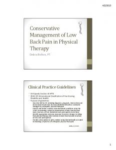 Conservative Management of Low Back Pain in Physical Therapy