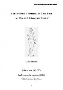 Conservative Treatment of Neck Pain an Updated Literature Review