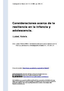 Consideraciones acerca de la resiliencia en la infancia y adolescencia