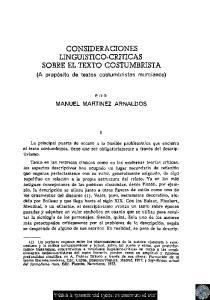 CONSIDERACIONES LINGUISTICO-CRITICAS SOBRE EL TEXTO COSTUMBRISTA