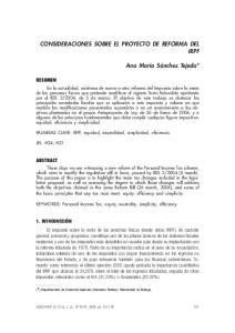 CONSIDERACIONES SOBRE EL PROYECTO DE REFORMA DEL IRPF