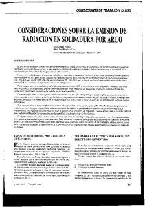 CONSIDERACIONES SOBRE LA EMISION DE RADIACION EN SOLDADURA POR ARCO