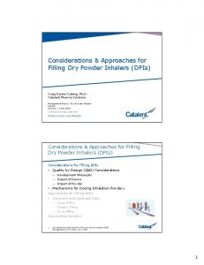 Considerations & Approaches for Filling Dry Powder Inhalers (DPIs)
