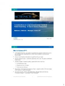 Considerations in Comprehensiveness Chemical Patent Searching A Search Service Perspective