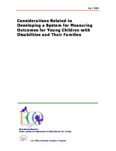 Considerations Related to Developing a System for Measuring Outcomes for Young Children with Disabilities and Their Families