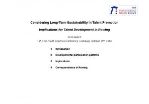 Considering Long-Term Sustainability in Talent Promotion. Implications for Talent Development in Rowing