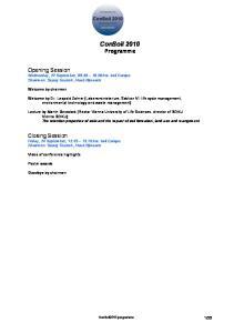 ConSoil 2010 Programme