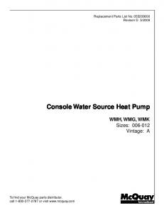 Console Water Source Heat Pump