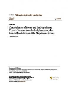 Consolidation of Power and the Napoleonic Codes: Comment on the Enlightenment, the French Revolution, and the Napoleonic Codes