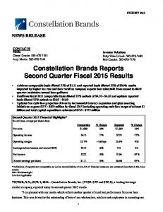 Constellation Brands Reports Second Quarter Fiscal 2015 Results