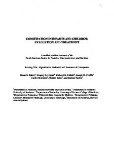 CONSTIPATION IN INFANTS AND CHILDREN: EVALUATION AND TREATMENT