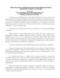 CONSTITUCION DE LA ORGANIZACION DE LAS NACIONES UNIDAS PARA LA EDUCACION, LA CIENCIA Y LA CULTURA