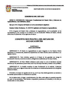 CONSTITUCION POLITICA DEL ESTADO DE AGUASCALIENTES
