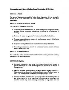 Constitution and Bylaws of Indian Dental Association (U.S.A.) Inc