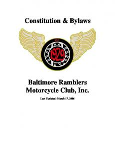 Constitution & Bylaws. Baltimore Ramblers Motorcycle Club, Inc