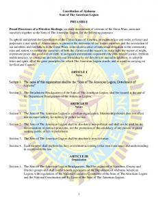 Constitution of Alabama Sons of The American Legion PREAMBLE
